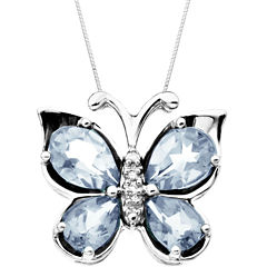 Aquamarine & Diamond-Accent Butterfly Pendant Necklace