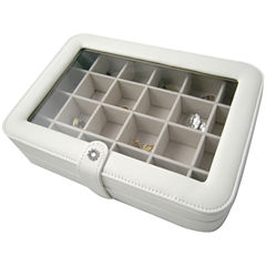 Ivory Faux-Leather Clear-Top Jewelry Box