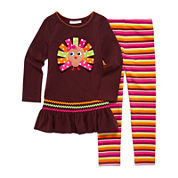 Bonnie Jean® 2-pc. Ribbon Turkey Top and Leggings Set - Toddler Girls 2t-4t