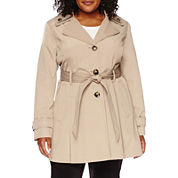 Liz Claiborne® Double-Collar Belted Trench Coat - Plus