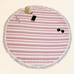 Pacific Coast Textiles Fouta Round Pink Beach Towel