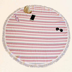 Pacific Coast Textiles Fouta Round Pink Beach Towel