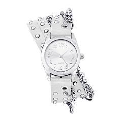 Decree® Womens Silver-Tone Chain Wrap Watch