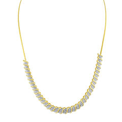 1/2 CT. T.W. Diamond 14K Yellow Gold Over Sterling Silver Necklace