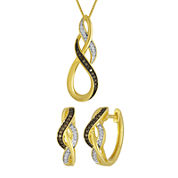 1/10 CT. T.W. White and Champagne Diamond Infinity Earring and Pendant Necklace Set