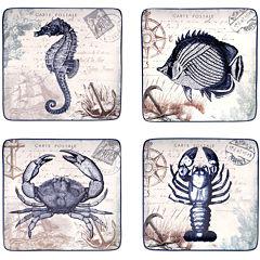 Certified International Coastal Postcards Set of 4 Dessert Plates