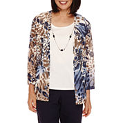 Alfred Dunner® 3/4-Sleeve Animal Print Layered Top