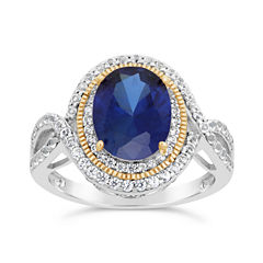 Womens Lab Created Blue Sapphire 18K Gold Over Silver Cocktail Ring