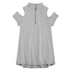 Insta Girl Mock Neck Short Sleeve Cold Shoulder Sleeve Blouse - Big Kid Girls