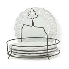 Isaac Mizrahi Chateau Fleur 4-pc. Plate Set with Metal Stand