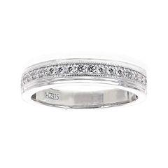 DiamonArt® Mens Cubic Zirconia Sterling Silver Wedding Band