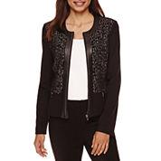 Liz Claiborne® Long-Sleeve Ponte Zip-Front Jacket - Petite