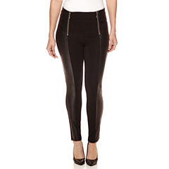 Bisou Bisou® Pleather-Detailed Ponte Pants