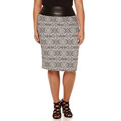 Bisou Bisou® Waist-Blocked Back-Zip Jacquard Skirt - Plus