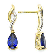 Pear-Shaped Lab-Created Blue and White Sapphire Twisted Drop Earrings