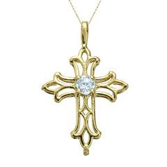 Genuine Aquamarine 10K Yellow Gold Cross Pendant Necklace