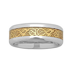 Personalized Mens Celtic Dragon Two-Tone Stainless Steel Wedding Band