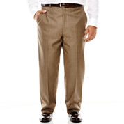 Stafford® Travel Brown Sharkskin Flat-Front Suit Pants - Big & Tall