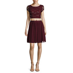 Speechless® 2-pc. Short-Sleeve Sequin Lace Dress - Juniors