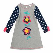 Rare Editions Long Sleeve Babydoll Dress - Toddler