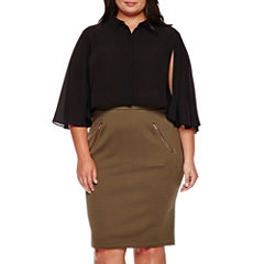 Ashley Nell Tipton for Boutique+ Cropped Long-Sleeve Button Down Shirt or Antique Quilted Pencil Skirt - Plus