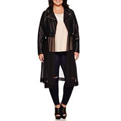 Boutique+ Moto Jacket, Sparkle Tee or Pull-On Slashed-Knee Leggings - Plus