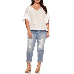 Boutique+ Ruffle-Sleeve Textured Blouse or Destructed Boyfriend Jeans - Plus