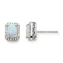 Lab-Created Opal & White Sapphire Stud Earrings
