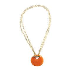 Art Smith by BARSE Color-Treated Orange Quartz Disc Pendant Necklace
