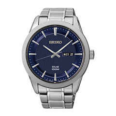 Seiko® Mens Stainless Steel Solar Watch SNE361