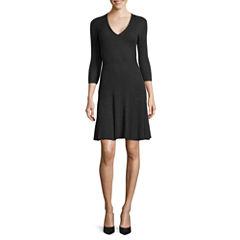 Worthington® 3/4-Sleeve Fit-and-Flare Sweater Dress