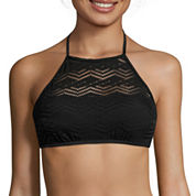 Arizona Mix & Match Black Crochet Halter High-Neck Swim Top