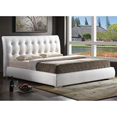 Baxton Studio Jeslyn Modern Bed with Tufted Headboard