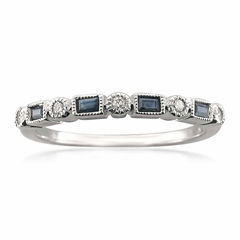 Womens 1/10 CT. T.W. Blue Sapphire 14K Gold Wedding Band