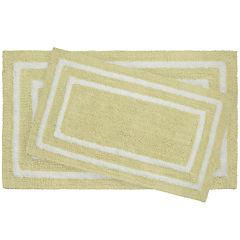Jean Pierre Double Border Reversible Cotton 2-pc. Bath Mat Set