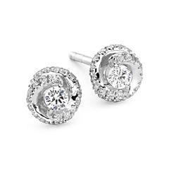1/4 CT. T.W. Diamond 10K White Gold Swirl Stud Earrings