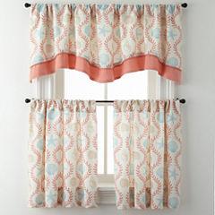 Sea Scroll Rod-Pocket Kitchen Curtains