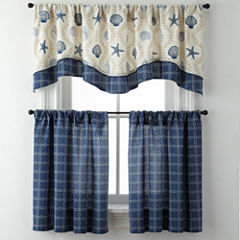 Sea Scroll Lattice or Rope Lattice Rod-Pocket Kitchen Curtains