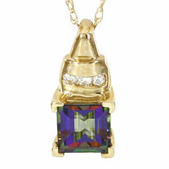 10K Yellow Gold Genuine Mystic Fire Topaz Diamond-Accent Necklace