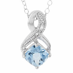 Sterling Silver Genuine Blue Topaz & Diamond-Accent Pendant Necklace
