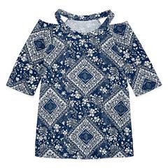 Insta Girl Scoop Neck Short Sleeve Blouse - Big Kid Girls