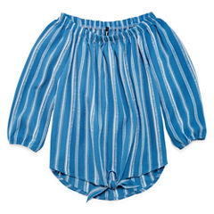 Insta Girl Scoop Neck Elbow Sleeve Blouse - Big Kid Girls