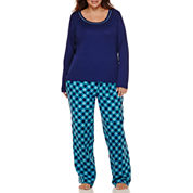 Liz Claiborne® Long-Sleeve Knit Top and Flannel Pants Pajama Set - Plus