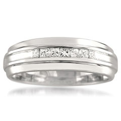 Mens 1/4 CT. T.W. White Diamond 14K Gold Wedding Band