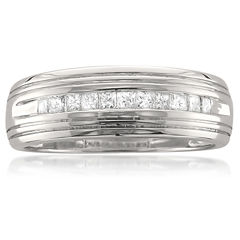 Mens 1/2 CT. T.W. White Diamond Platinum Wedding Band