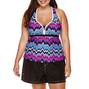 ZeroXposur® Rhythm Tankini Top or Woven Board Shorts - Plus