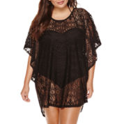 a.n.a® Flutter-Sleeve Crochet Tunic Cover-Up - Plus