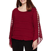 Alyx® Long-Sleeve Lattice-Trim Blouse - Plus