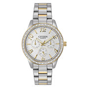 Citizen® Womens Two-Tone Crystal-Accent Chronograph Watch ED8124-53A
