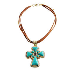 Art Smith by BARSE Mixed Gemstone Cross Pendant Necklace